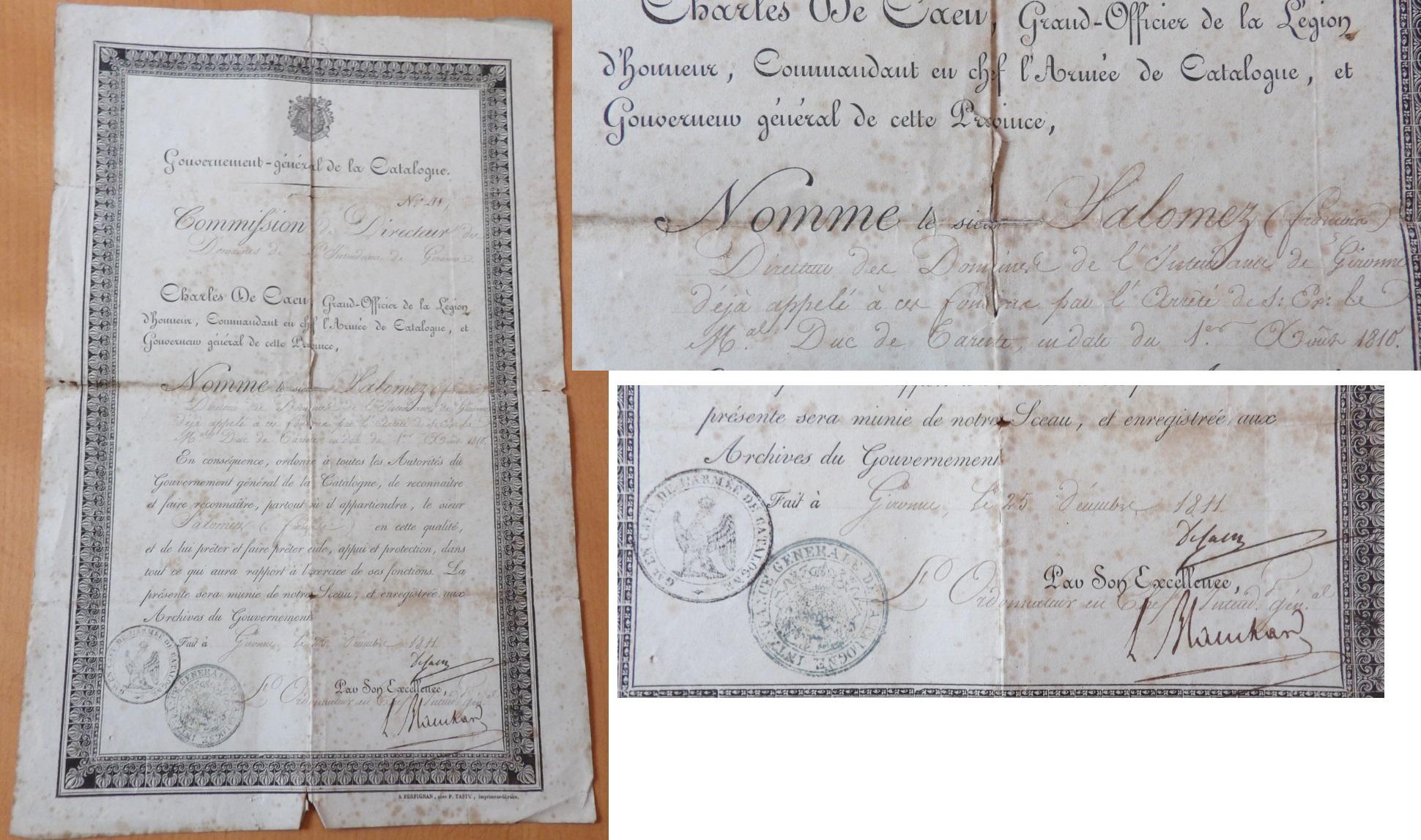 Document 1er Empire 1811 Catalogne