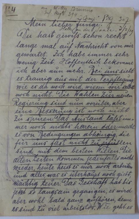 Lettre prisonnier de guerre WWI à traduire Lettre