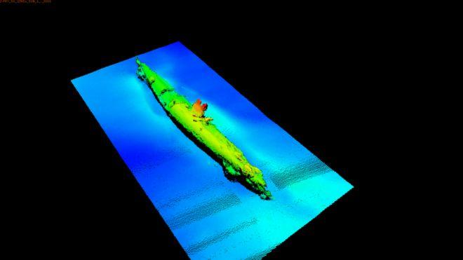"""Descubren submarino alemán UB-85 en el área donde hace 100 años fue hundido uno """"por un monstruo marino"""" _91965895_sonar1"""