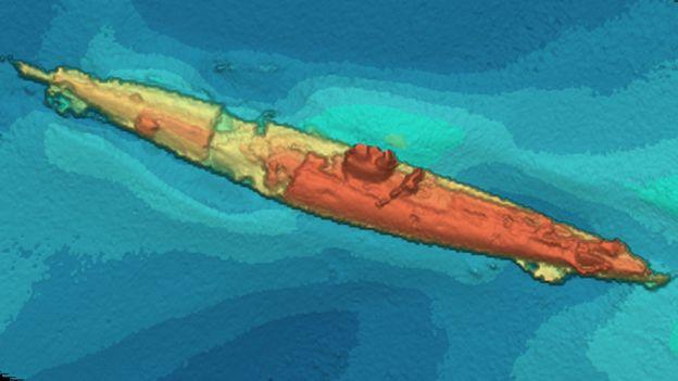 """Descubren submarino alemán UB-85 en el área donde hace 100 años fue hundido uno """"por un monstruo marino"""" _91965897_sonar2"""