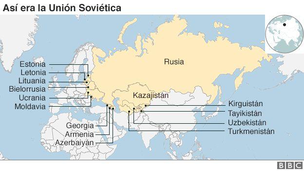 Caída y desaparición de la URSS y el bloque del Este. Hecho$ significativos hacia Rusia en el presente. [HistoriaC] _92436208_ussr_republics_map_624_ws_spanish