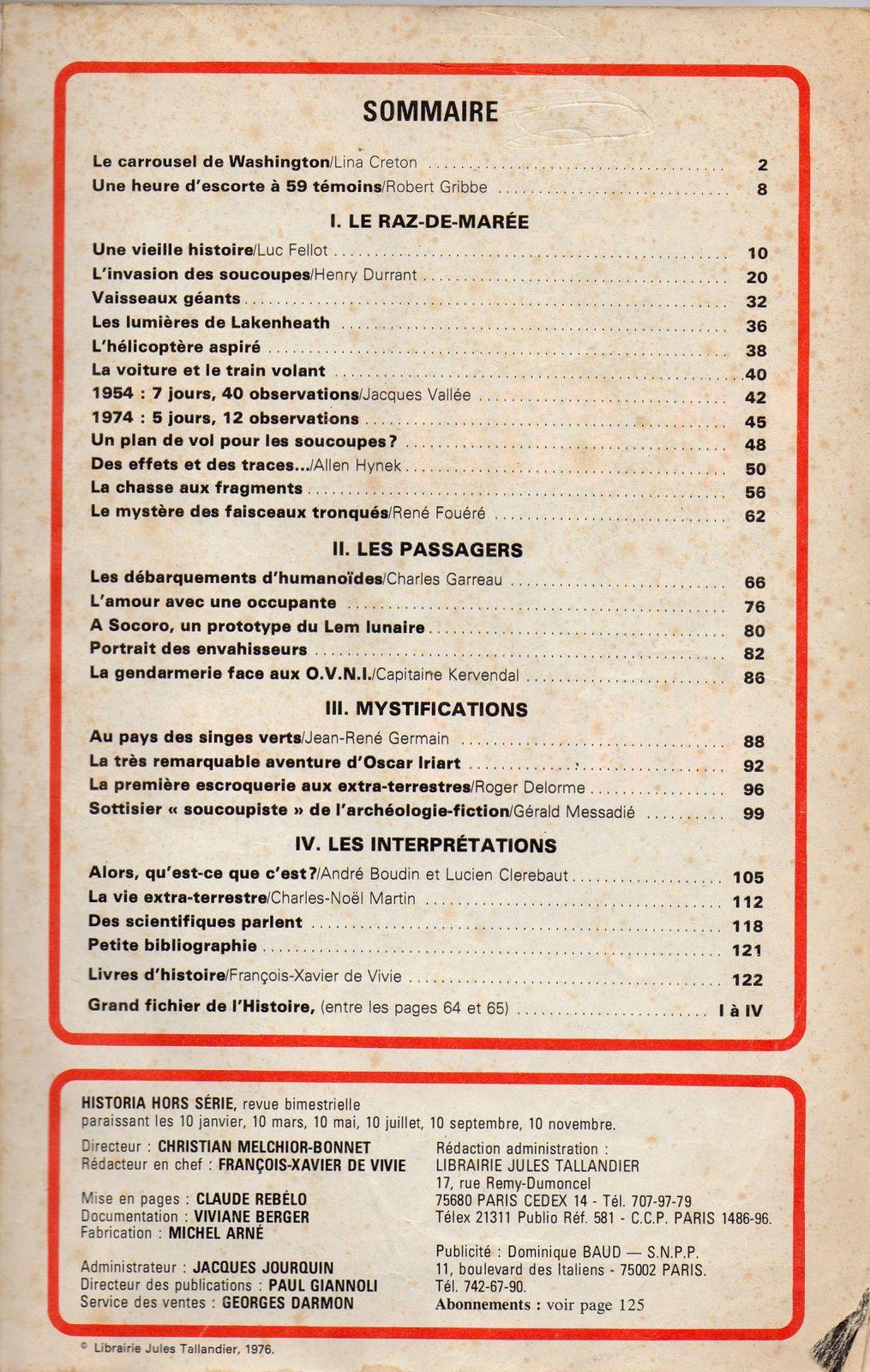 (1976) : HISTORIA Hors série, Les soucoupes volantes. Sommaire