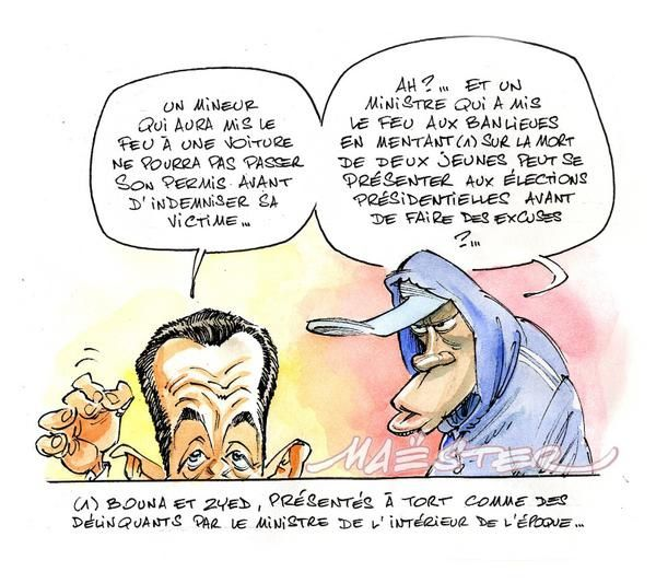 [Sarkozyland] Toutes les déclarations, critiques, bourdes (chapitre 4) - Page 39 Sarko-voiture-brulee