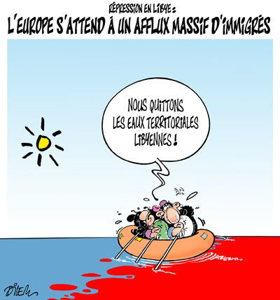 Lampedusa : la chute de Kadhafi épouvante désormais l'Europe Repression-en-Libye