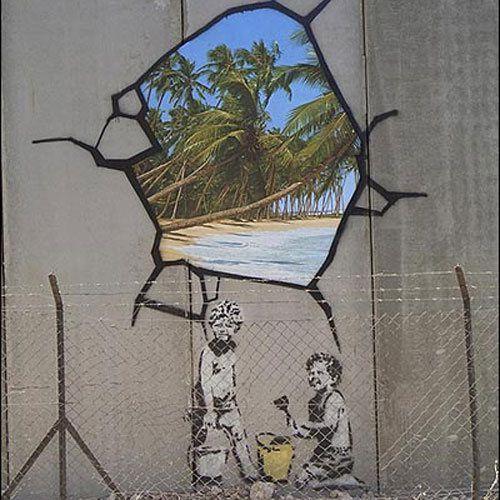 Toujours plus de murs dans un monde sans frontières Mur-Israel-Cisjordanie-Bansky_pics_500
