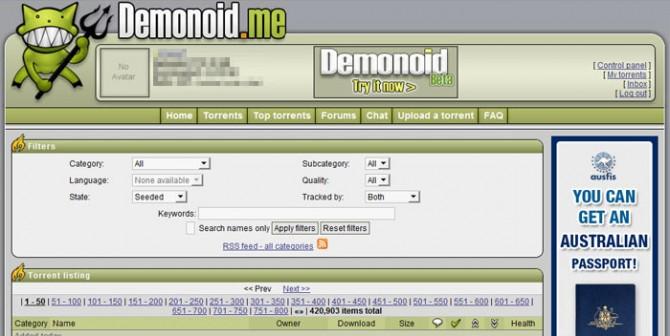 Najpopularniji javni torrent sajtovi 57863-demonoid-670x336