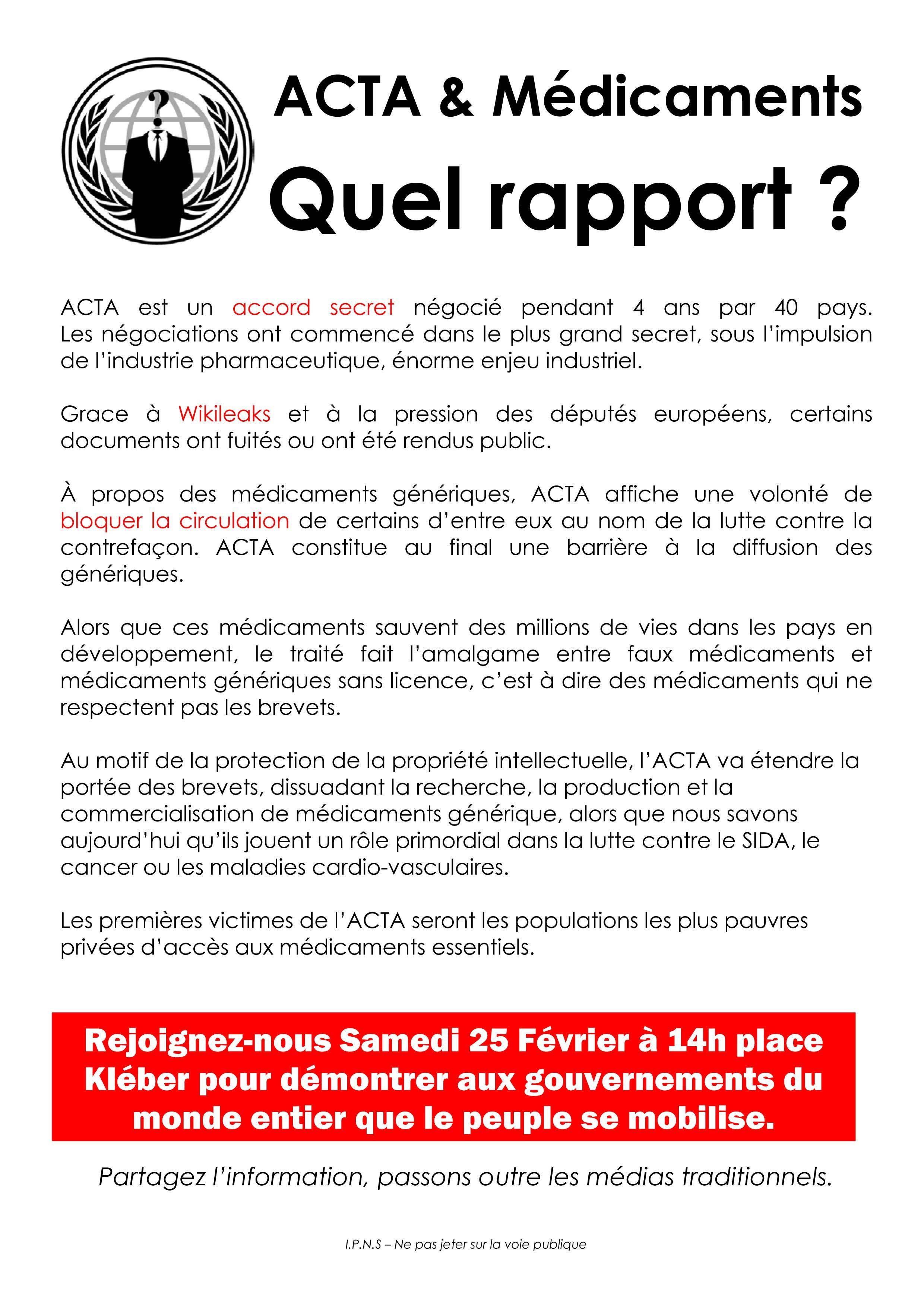 Stop ACTA !!  affiches - flyers  contre le traité #ACTA Mamdoaadl