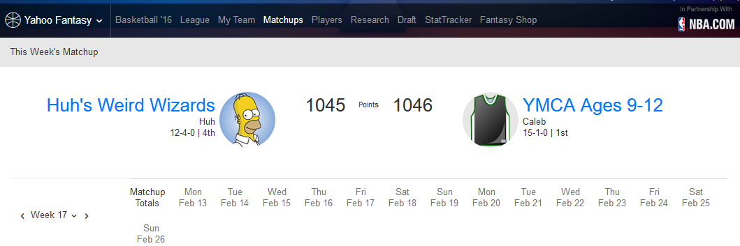 Week 17 Matchup, 1046 to 1045 so far 17742c84081d486f85ee0c0f78842f87