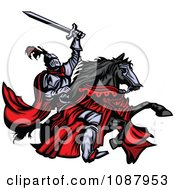 HONTEUX le plagiat... - Page 2 1087953-Medieval-Knight-Holding-Up-His-Sword-And-Riding-His-Black-Horse