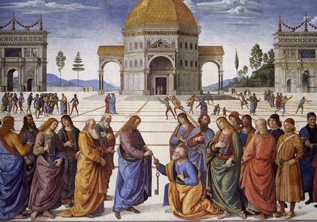 """""""Cattedra di San Pietro"""" 7-a-perugino---consegna-delle-chiavi_1688278"""