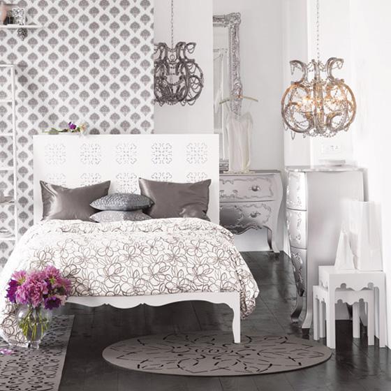 اللون الابيض شعار غرف النوم الجديده Nom1