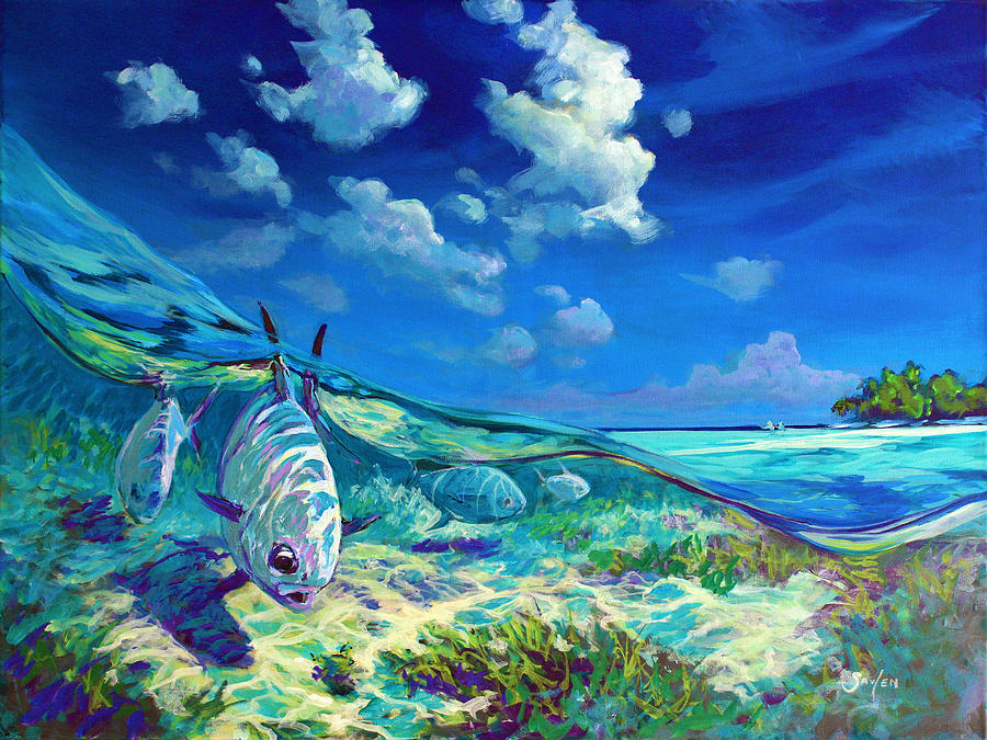 Omaž ribolovcu i ribolovu A-place-id-rather-be-caribbean-permit-fly-fishing-painting-mike-savlen