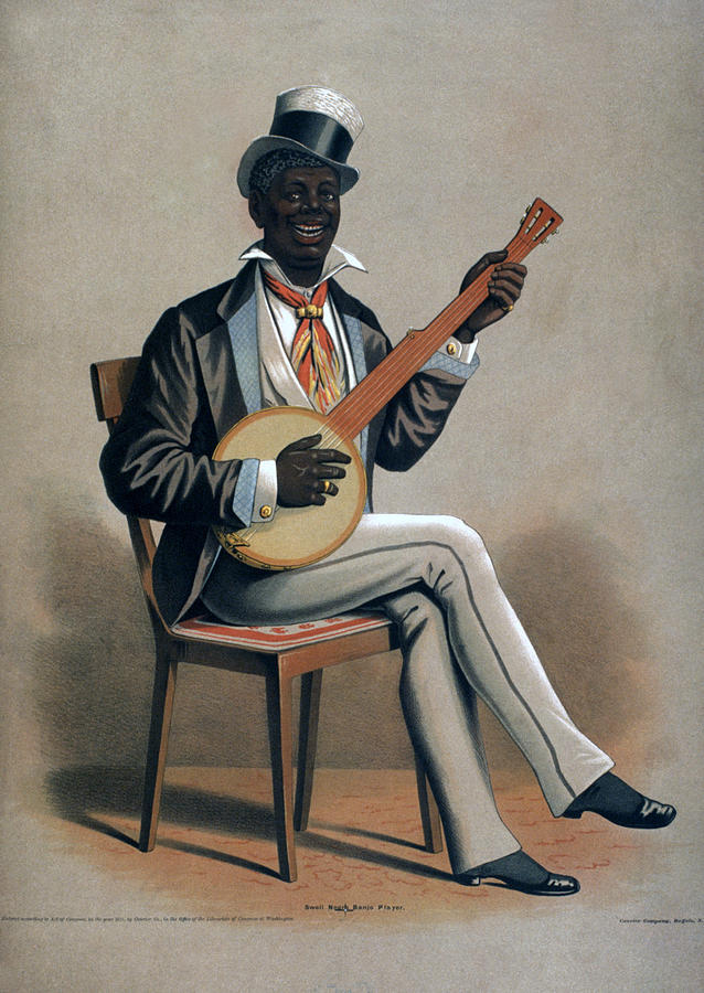 Cuando el tatuaje se convierte en arte...(Grandes tatuadores) African-american-man-playing-the-banjo-everett