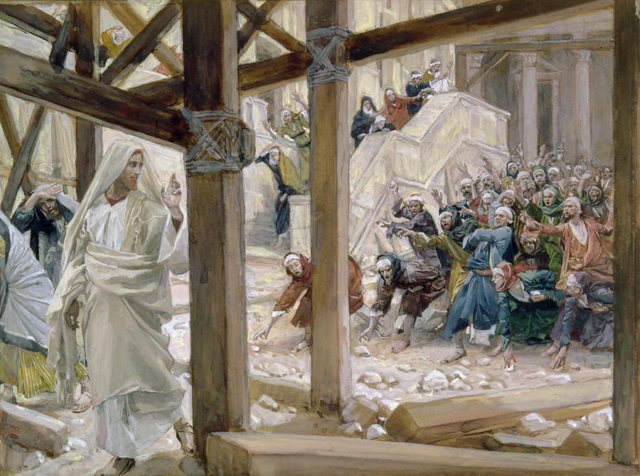 COV ZAJ NYEEM NRUAB LIS PIAM 2012 The-jews-took-up-stones-to-cast-at-him-tissot