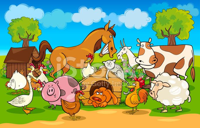 """Mi libro """"Y Dios se detuvo en Cerro Hierro"""" 20023428-cartoon-rural-scene-with-farm-animals"""