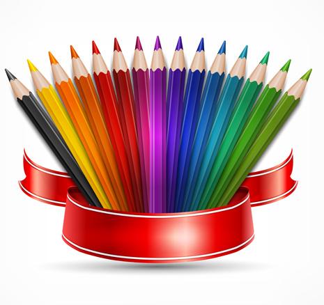سكرابز اقلام رصاص ملونة بدون تحميل Colored-pencils-vector-background-set-95905