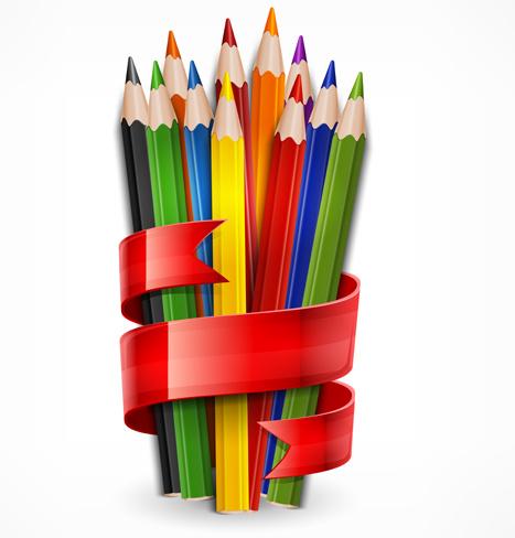 سكرابز اقلام رصاص ملونة بدون تحميل Colored-pencils-vector-background-set-95908