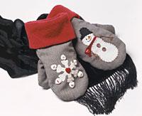 Snowman & Snowflake Mittens--kids--sew L_12758661