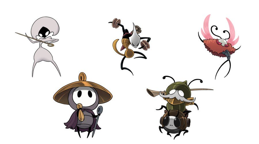 Hollow Knight: Silksong (featuring Drunkalilly's favourite bug) From-left-to-right-top-row-lace-shakra-trobbio-bottom-row-sherma-garmond-and-zaza.900x