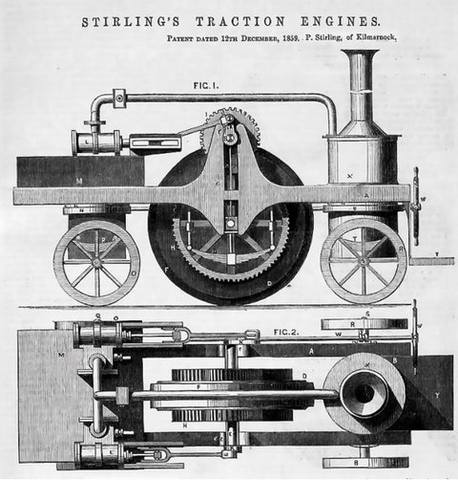 STIRLING'S TRACTION ENGINES Patent dated 12th December, 1859 14841077_m