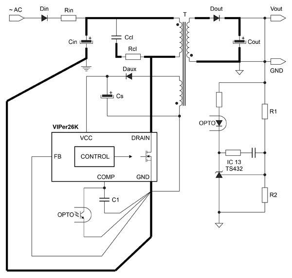 питания - Сетевой источник питания на основе VIPER26xK. 31372249