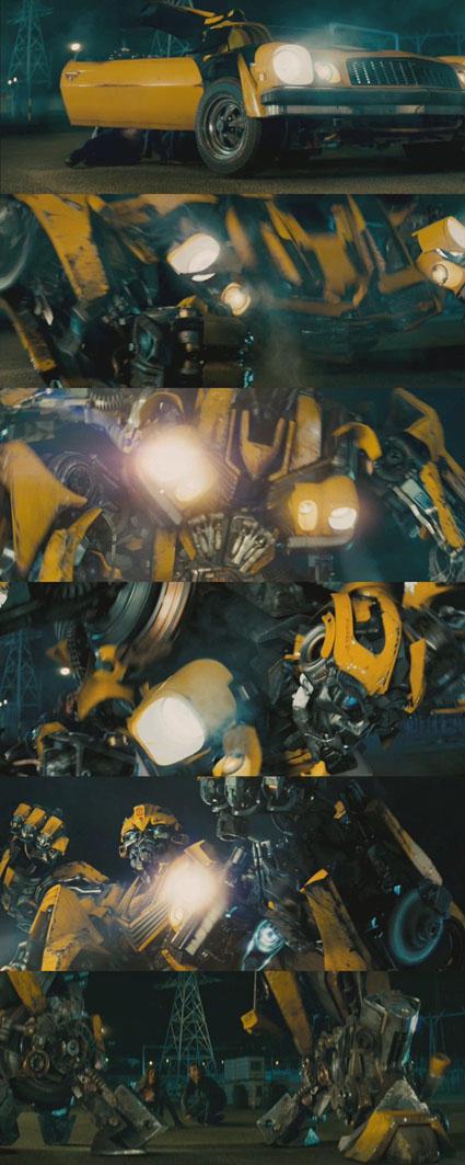 Q&R: Parlons de robots TF | TF sont bio-mécaniques ou mécanique? | Sideshow | Échelle des jouets | etc Movie_Bumblebee_transformation1