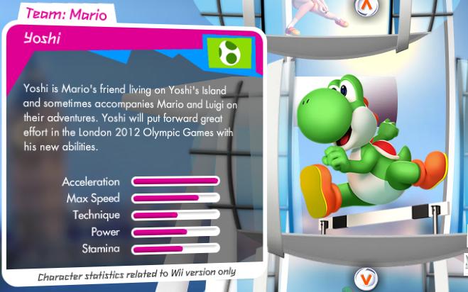 Mario et Sonic aux Jeux Olympiques de Londres 2012 (Wii) Yoshi_stats