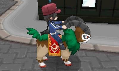 Videojuego >> Pokémon X y Pokémon Y (6ª generación) III Entrenador_montado_en_un_Gogoat