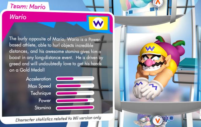Mario et Sonic aux Jeux Olympiques de Londres 2012 (Wii) Wario_stats