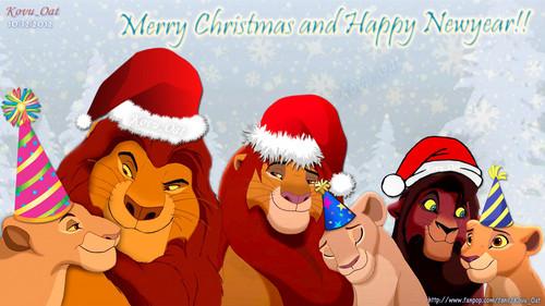 galeria de imagenes hermosas ,curiosas y extrañas  - Página 2 Mufasa-Sarabi-Simba-Nala-Kovu-Kiara-Merry-Christmas-Happy-New-Year-HD-lion-king-couples-33063382-500-281