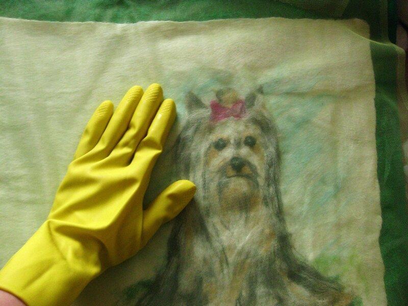 Мастер-класс по валянию обложки с Йорком, рисунок выполнен в технике шерстяной акварели (приваливани 0_2dfb6_425171f9_XL
