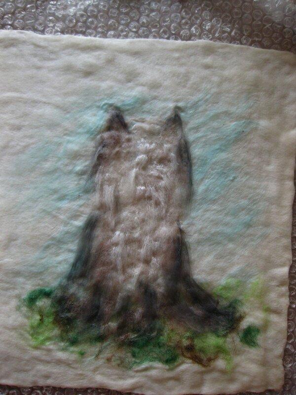 Мастер-класс по валянию обложки с Йорком, рисунок выполнен в технике шерстяной акварели (приваливани 0_2df9c_8cde38ea_XL