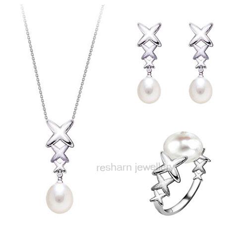 لي ما شرا يتنزه Silver_Pearl_Jewelry_Set