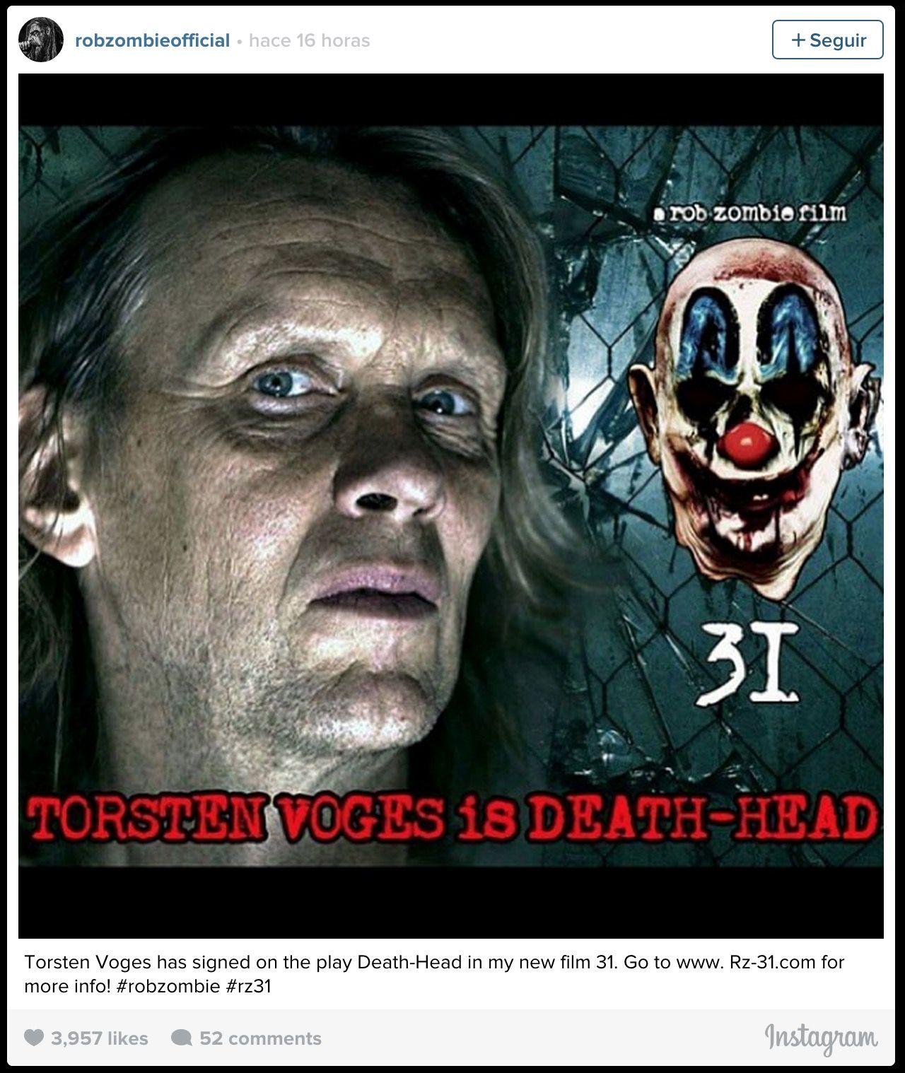 """""""31"""" Nuevo Proyecto Cinematográfico de Rob Zombie Zombie-instagram"""