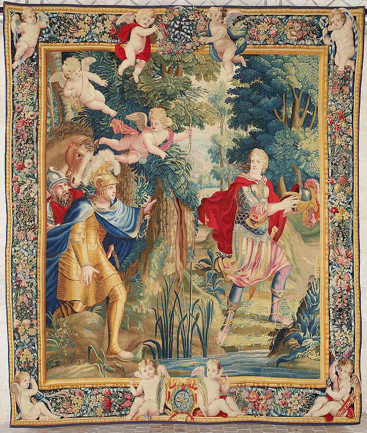 Saison En Lices la tapisserie à Chateaudun & à la CMN Premier-sujet-tenture-relatant-lHistoire-Tancrede-Clorinde-Prise-vuerestauration_0_729_860