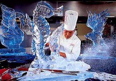 Arte efímero, esculturas en hielo y nieve Trabajando-hielo