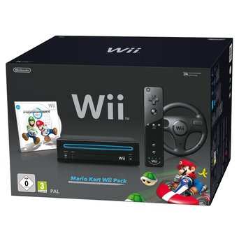 Guide du consoleux - Wii 0156015604669362-c2-photo-oYToxOntzOjU6ImNvbG9yIjtzOjU6IndoaXRlIjt9-consoles-nintendo-wii-nintendo-console-wii-noire-mario-kart-telecommande-wii-plus-noire-volant-wii-noir