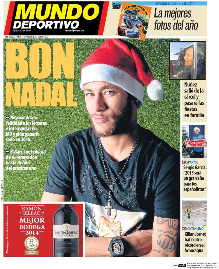 ترجمة غلاف موندو ديبورتيفو الخميس 25-12-2014 Mundodeportivo.750