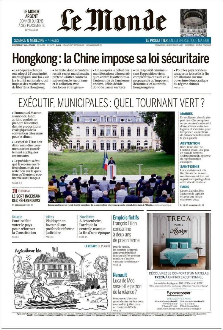 DIARIO LE MONDE 1-7-2020 Francia Lemonde.750