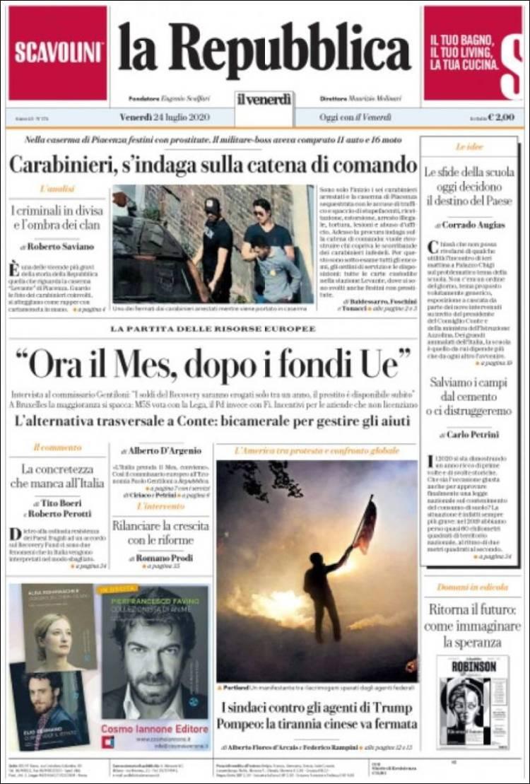 DIARIO LA REPUBBLICA 24-7-2020 Repubblica.750