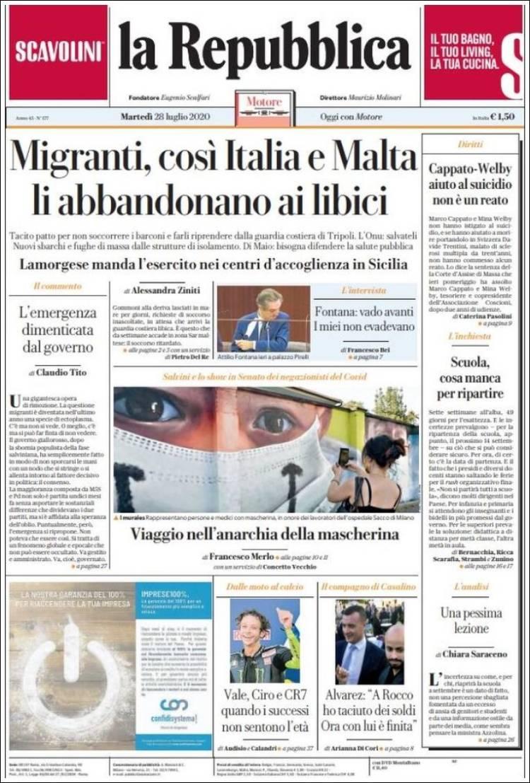DIARIO LA REPUBBLICA 28-7-2020 Repubblica.750