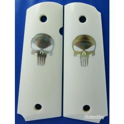 Plaquettes (Grips) sur Ebay __00001_PLAQUETTES-COLT-1911-MATIeRE-OS-DE-BUFFLE-NACRE-PUNISHER-NEUVE-BLANCHE