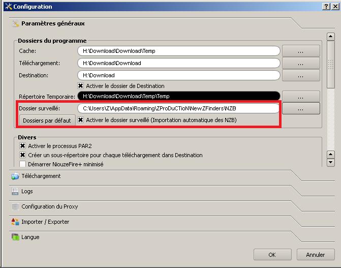 Tutoriel pour importer automatiquement les fichiers .NZB avec NiouzeFire+ Autoimportniouzefire