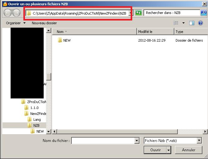 Tutoriel pour importer automatiquement les fichiers .NZB avec NiouzeFire+ Fichierouvrir2