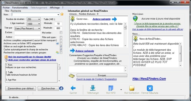NewZFinders 1.1.1 Bêta Build 009 - Capture d'écran Newzfinders_small