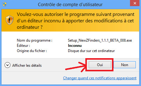 Installation de NewZFinders sur Windows 8 Win82