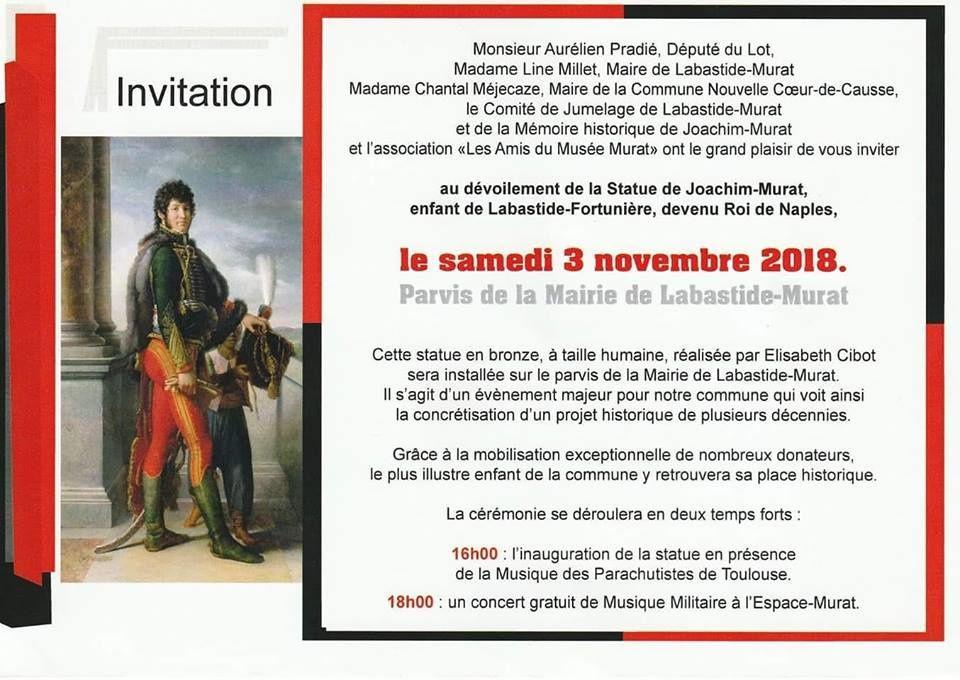 Joachim Murat Inauguration à Labastide-Murat - L'inauguration de la statue en présence de la Musique des parachutistes de Toulouse. Ob_725813_44452924-2194383257248096-612558231003