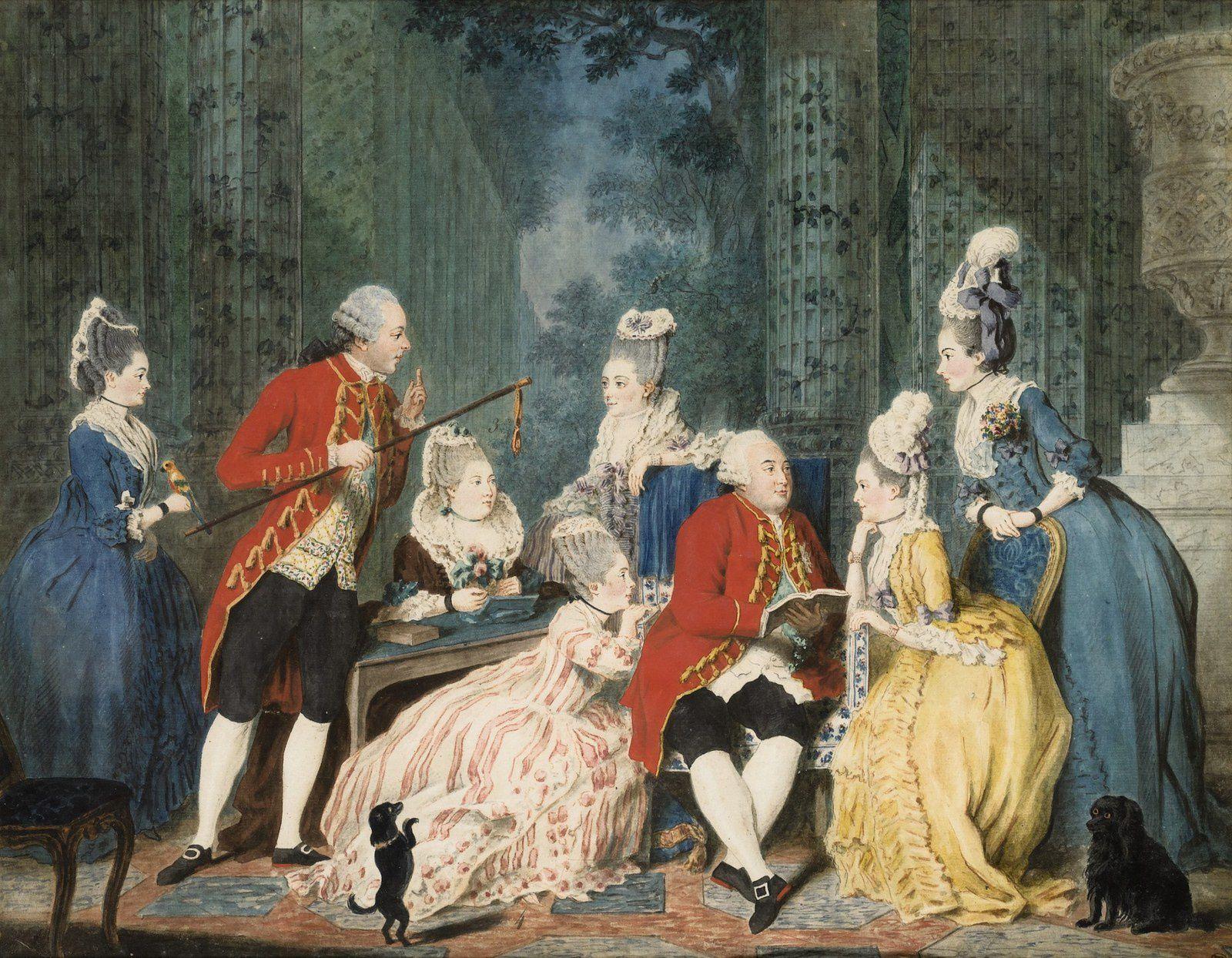 Qui sont les personnages peints sur ce tableau de Jean-Baptiste-André Gautier Dagoty ? Ob_01efab_sothebys-lot-7-carmontelle-societe