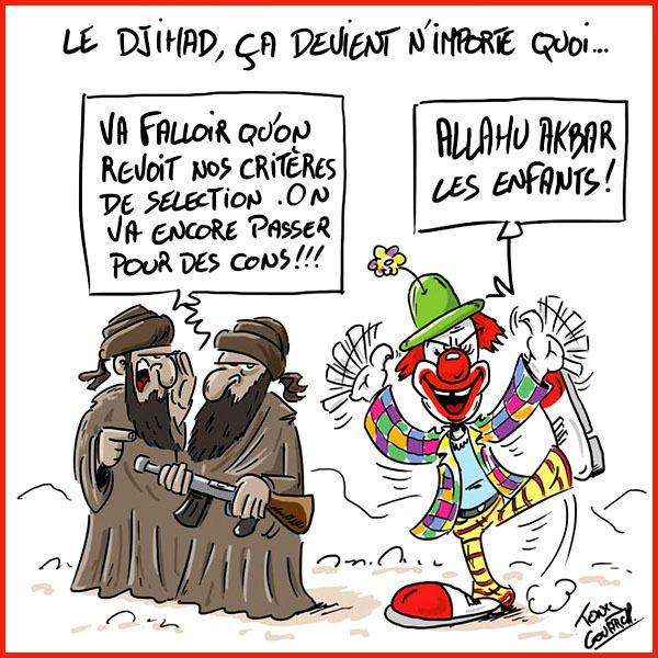A RIRE OU EN PLEURER OU REVUE DE PRESSE SATIRIQUE - Page 23 Ob_877fc6_dessin-lelgouarch-clown-djihad