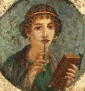 Divorce à l'alsacienne Poetesse-Sappho-tablette-cires-en-codex-et-stylet-Pompei